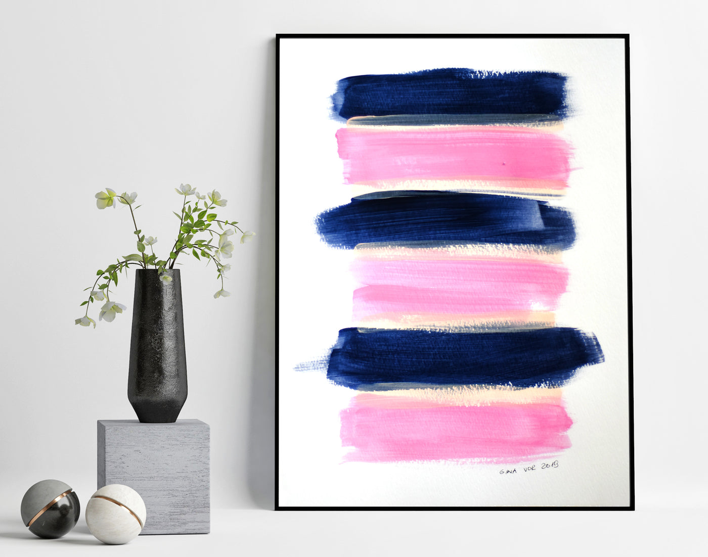 Minimalist art painting in blush pink and navy blue