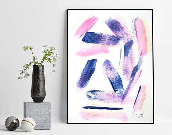 Pink and navy abstract art painting for sale