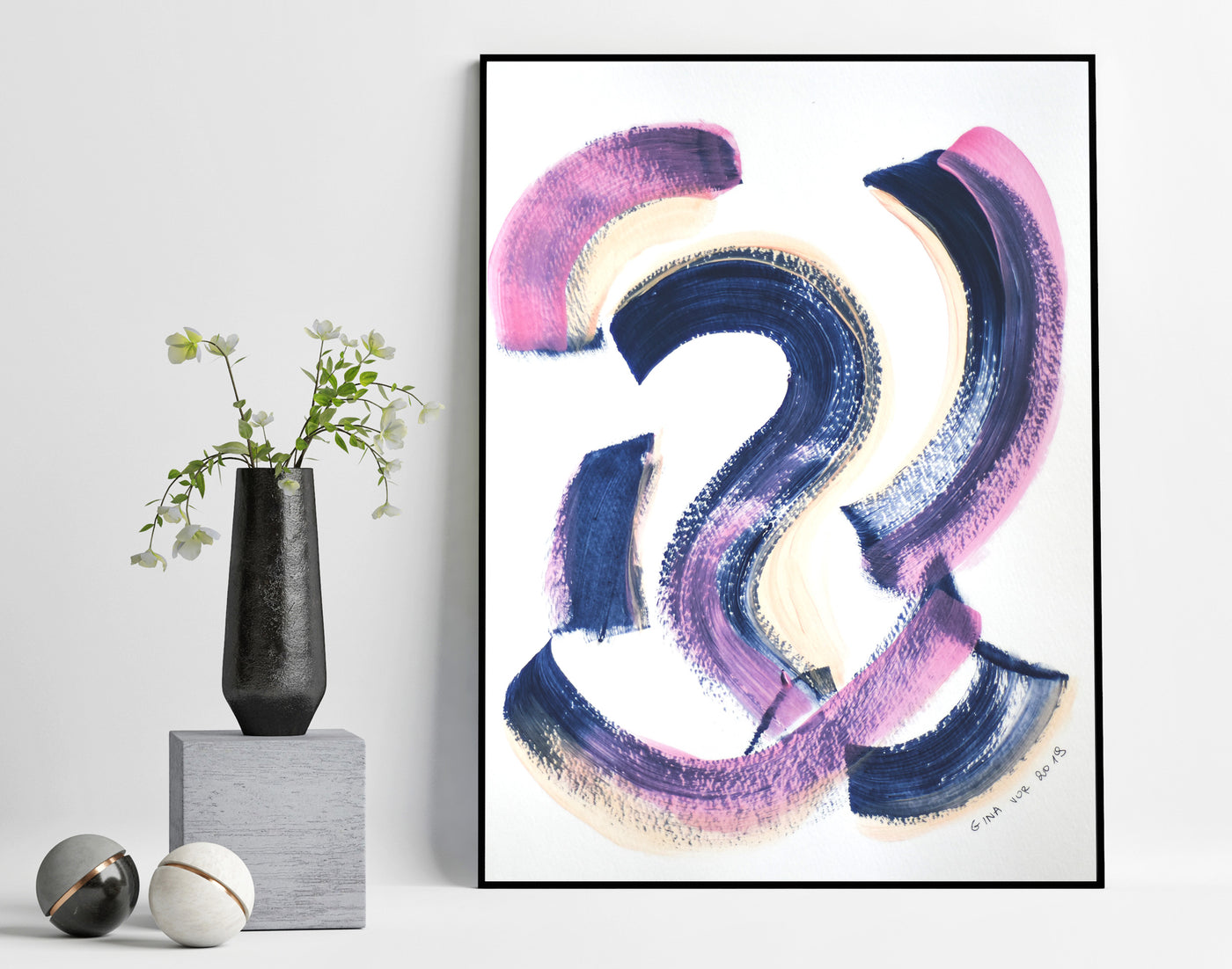 Affordable pink and navy abstract painting for sale