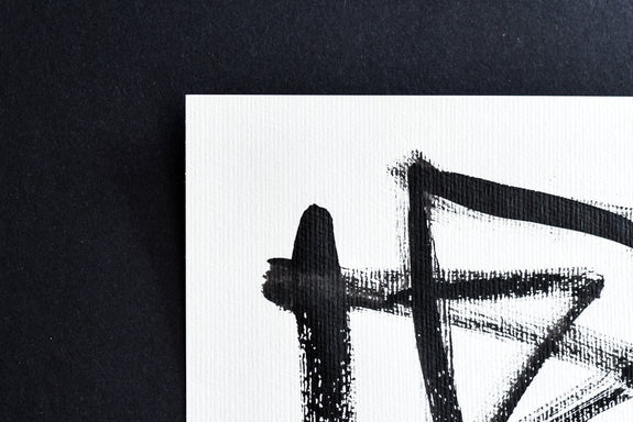Abstract calligraphy, modern Japanese style art in black and white
