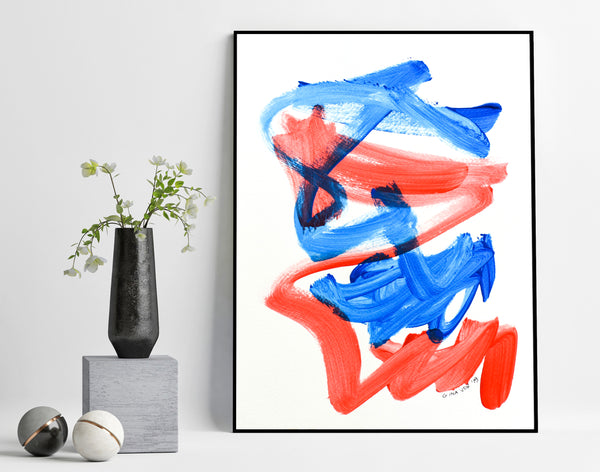 Blue and red abstract painting on paper for sale online