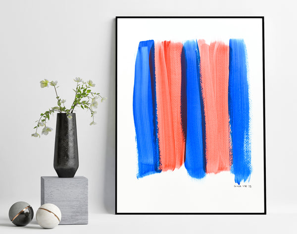 Blue and red abstract painting for sale
