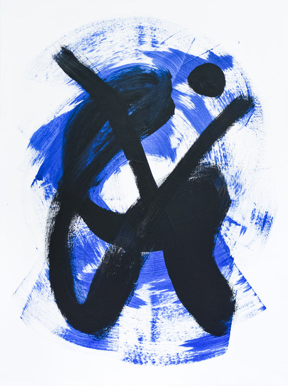 black and blue abstract painting on canvas