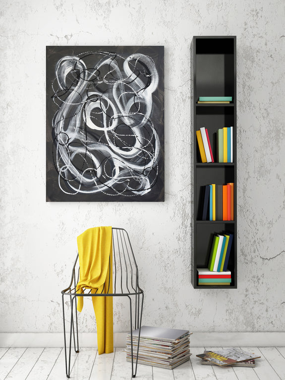 Black and white abstract painting in contemporary interior