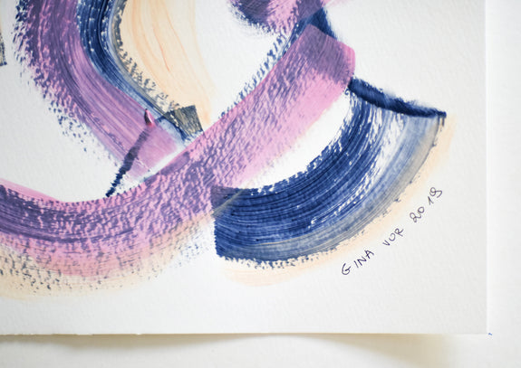 Abstract pink and navy painting on paper