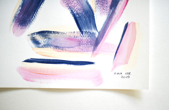 Minimalist pink and navy abstract painting