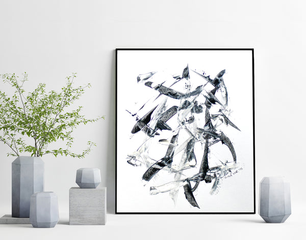 Art on paper - black and white abstract painting for sale