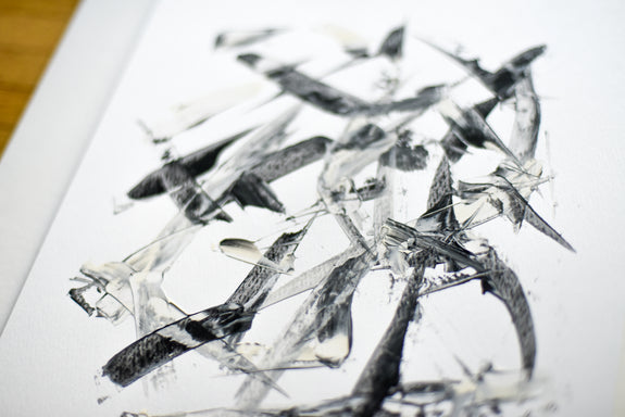 Affordable black and white abstract painting on paper