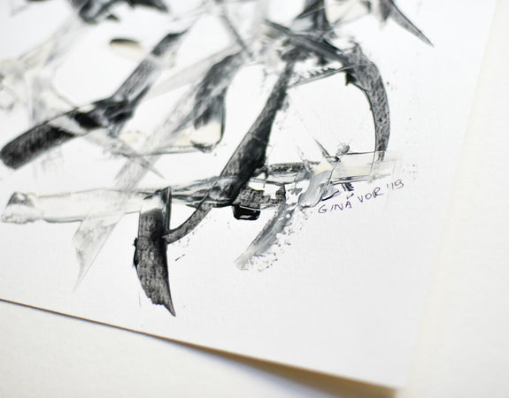 Black and white abstract art on paper by artist Gina Vor