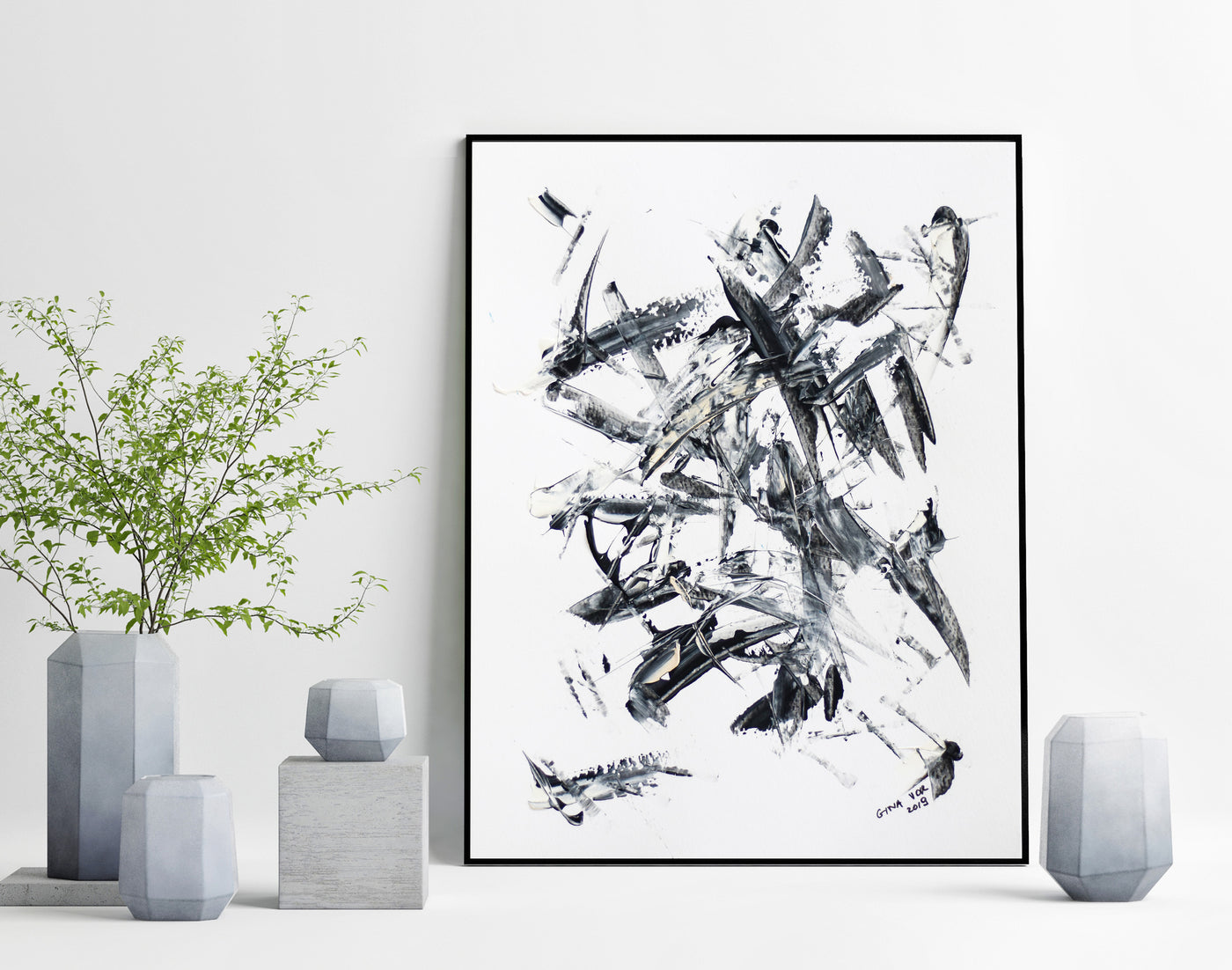 Black and white abstract painting for sale