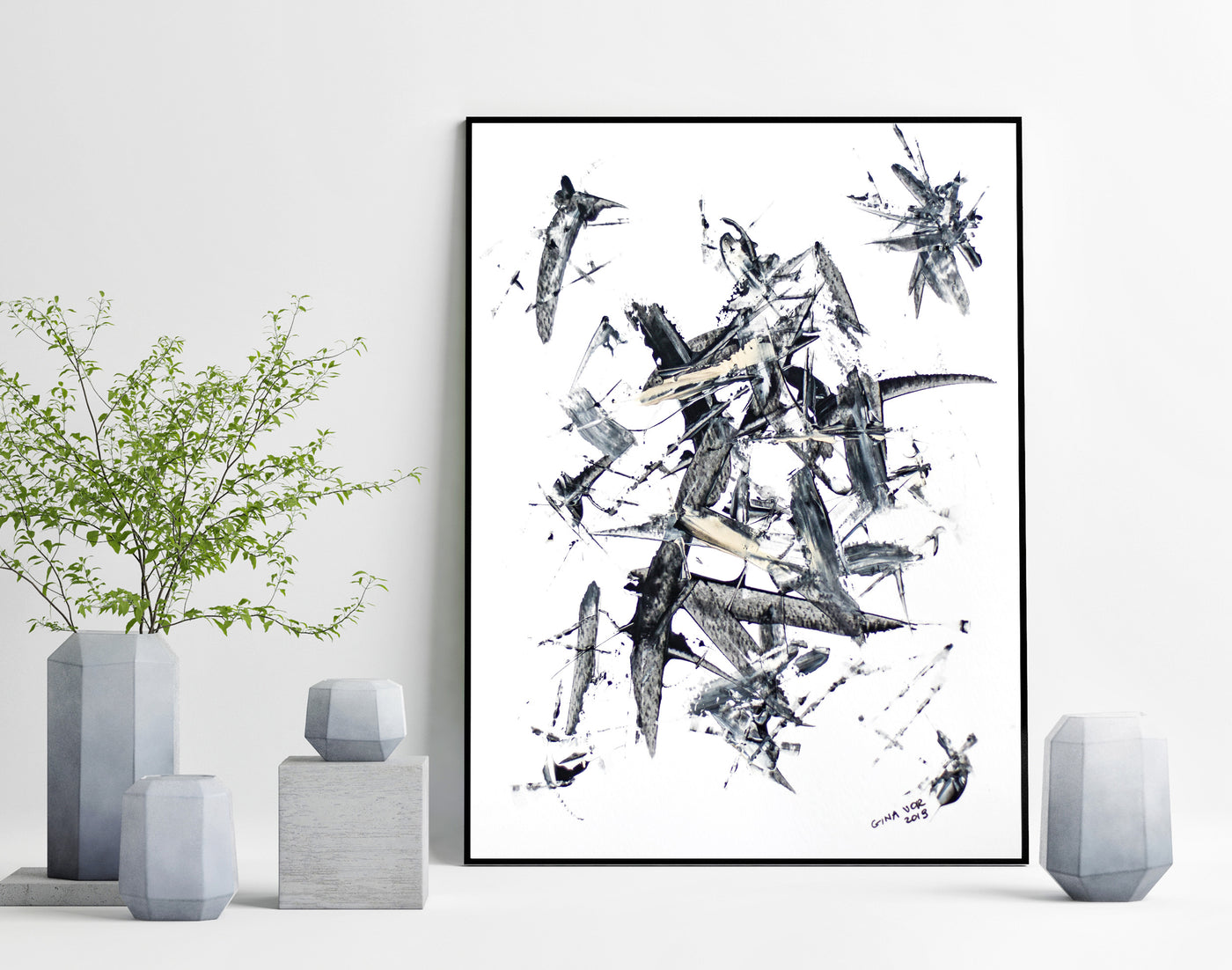 Abstract art on paper - original black and white painting for sale online