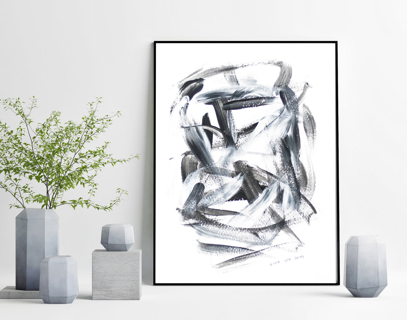 Art on paper - original back and white abstract painting for sale