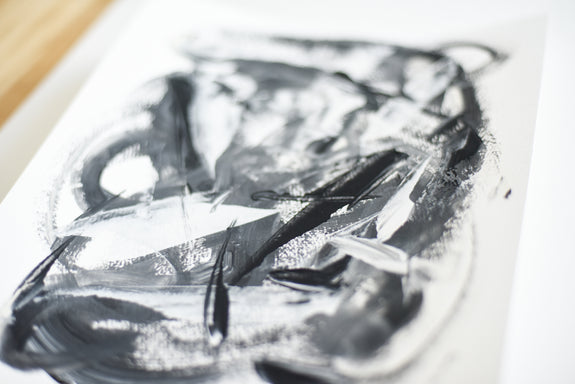 Art on paper - black and white abstract painting
