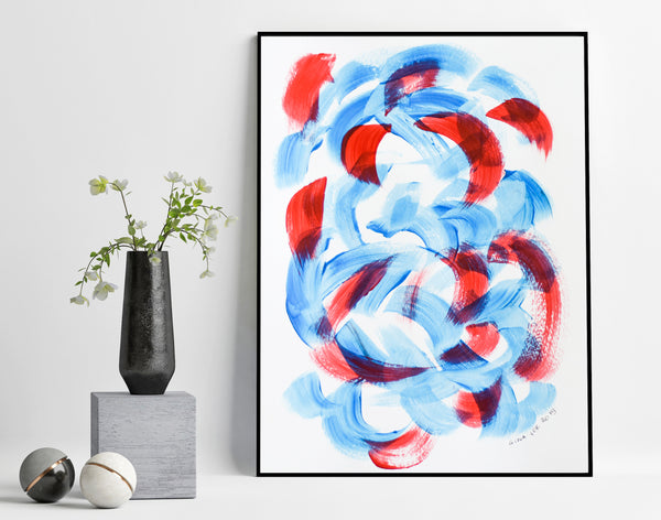 Beautiful abstract painting in blue and red