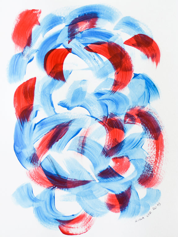 Abstract art - affordable painting in blue and red