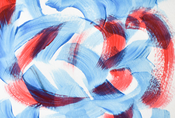 Blue and red abstract artwork