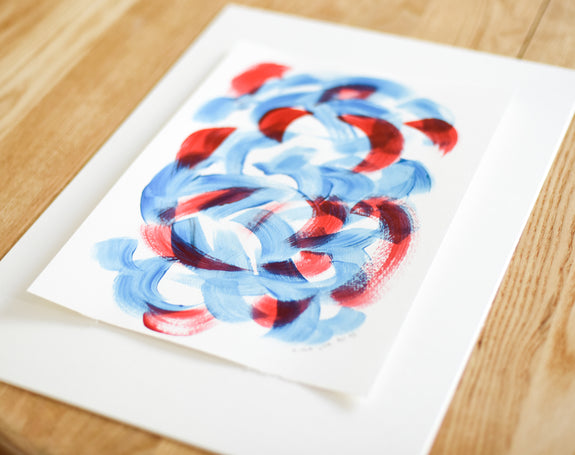 Affordable blue and red abstract art painting on paper