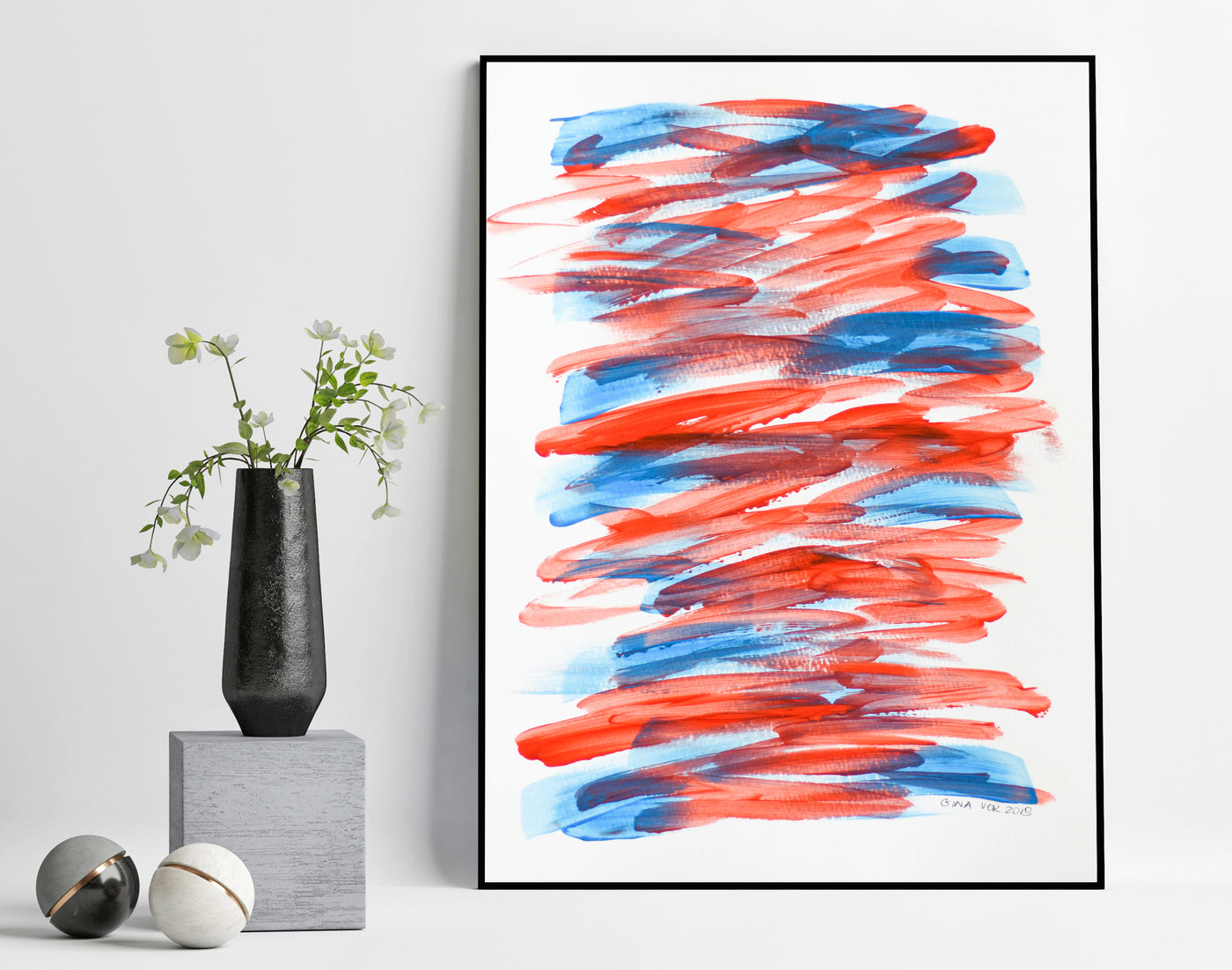 Abstract art painting on paper in blue and red