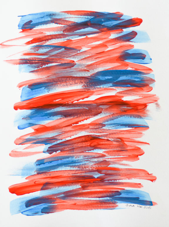 Blue and red minimalist abstract painting on paper