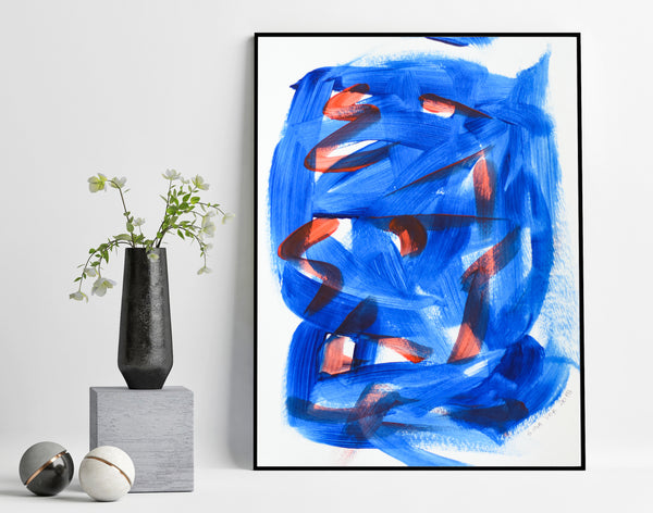 Abstract painting in blue and red