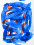 Contemporary blue and red abstract art painting on paper