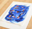 Blue and red abstract art painting on paper