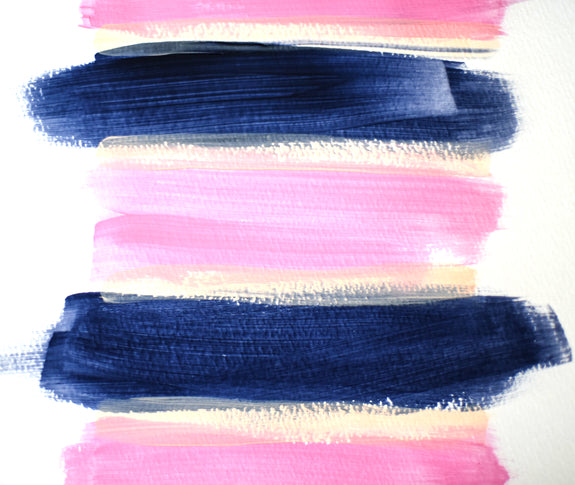Blush Pink and Navy Blue Art