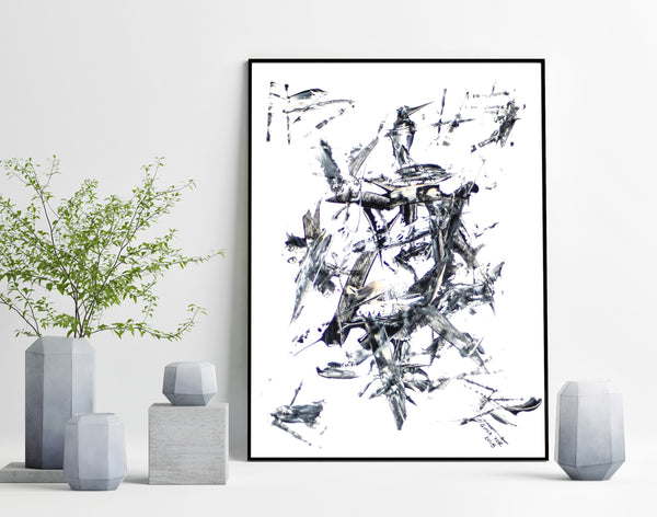 Painting on paper - affordable black and white abstract for sale