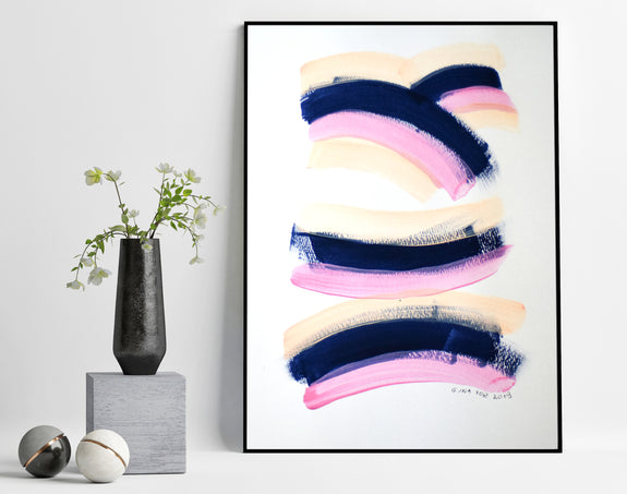 Abstract art pink and navy blue painting for sale