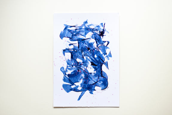 Abstract painting in prussian blue