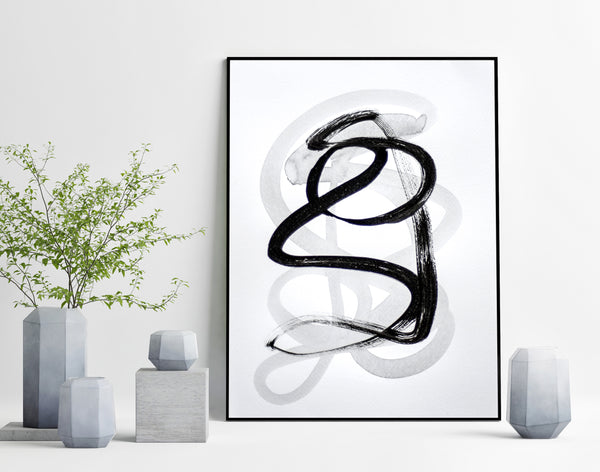 Black and white abstract art painting for sale
