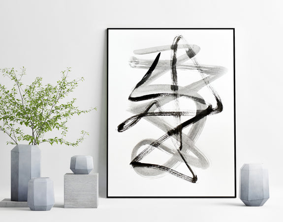 Black and white abstract line art for sale