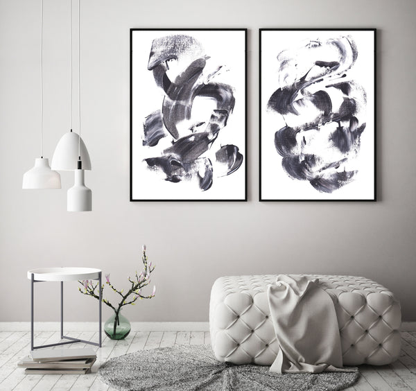 Free printable wall art - set of two black and white paintings