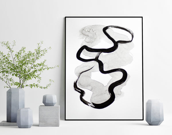 Black and white abstract art on paper
