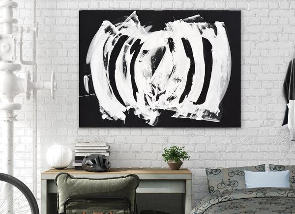 original black and white abstract painting for sale