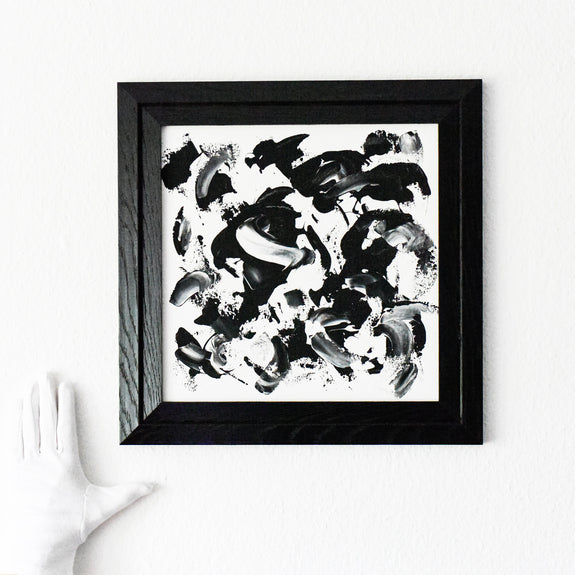 Black and white abstract expressionist painting