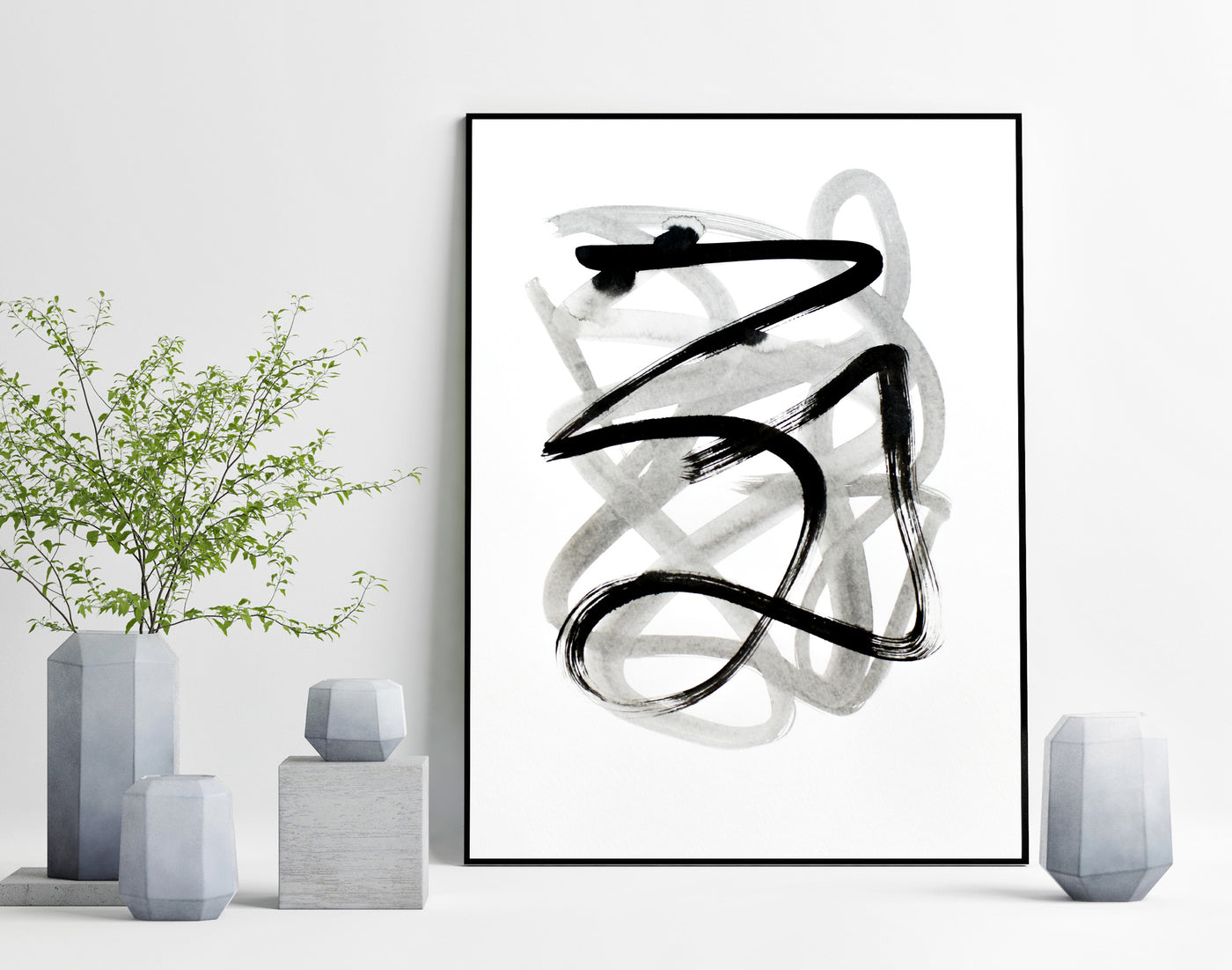 Black and white abstract ink drawing for sale