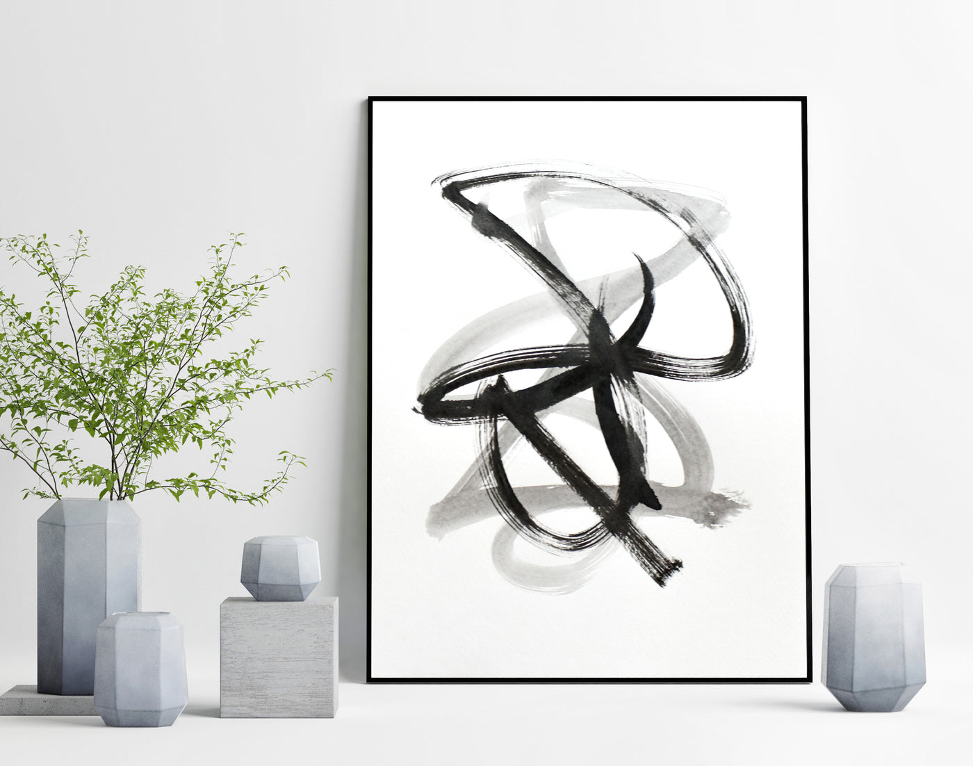 Black and white abstract art - line ink drawing for sale