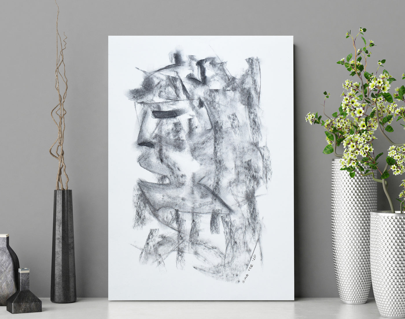 Contemporary black and white art for sale