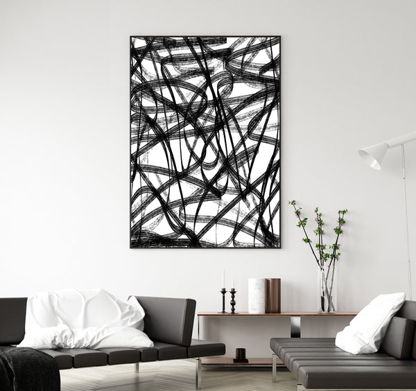 Black and white printable abstract art