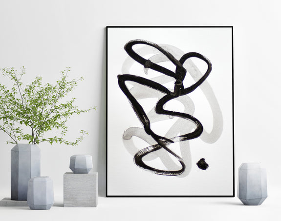 Black and white abstract art