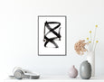 Minimalist abstract black and white line art for sale