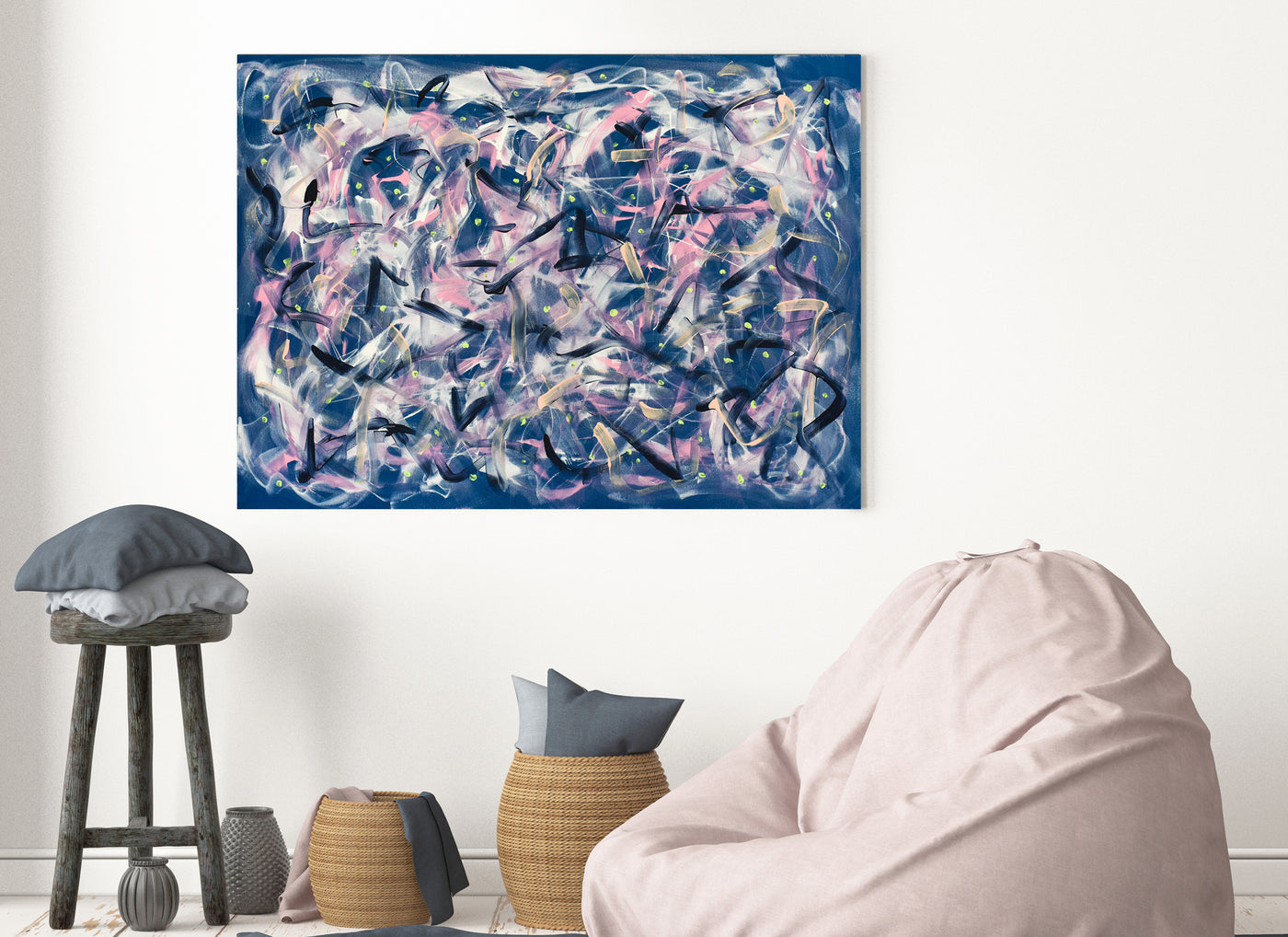 Blue abstract painting for sale