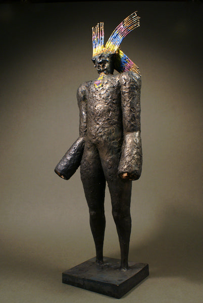 Contemporary bronze sculpture of a Native American for sale