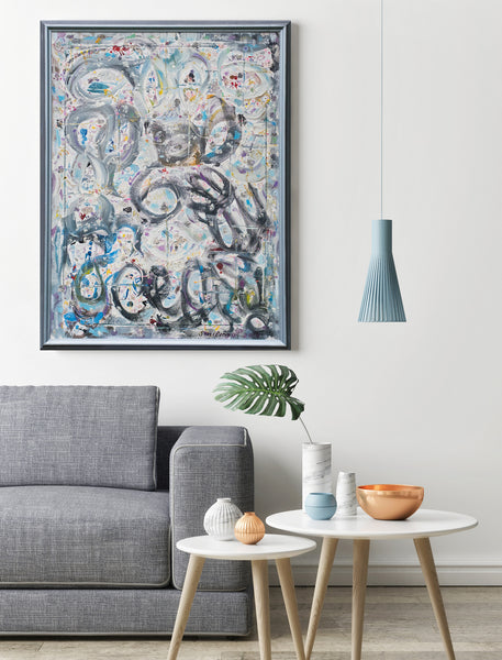 Original grey abstract painting for sale