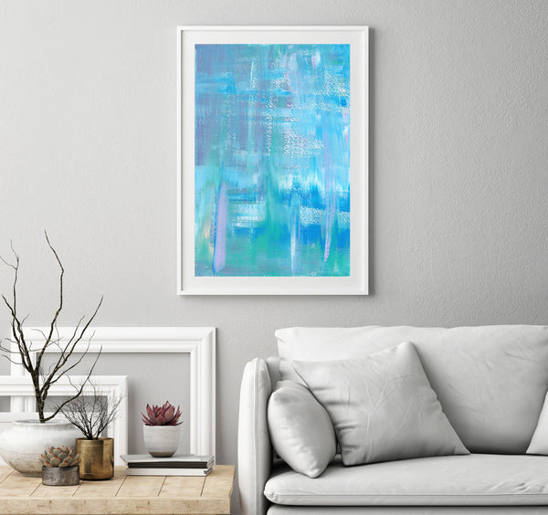wall printable blue abstract painting