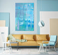 large blue printable abstract painting