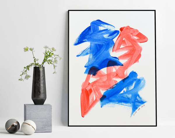 Blue and red abstract art painting for sale online