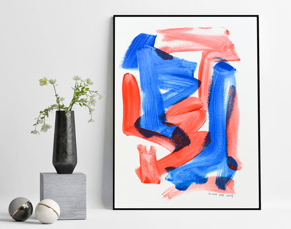 Blue and red abstract painting for sale online
