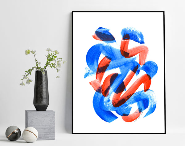 Painting on paper - original blue and red abstract art for sale